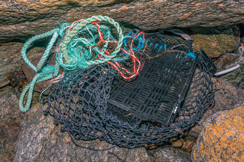 Broken crate, netting and rope washed up at Petit Port on Guernsey's south coast on 11th February 2020