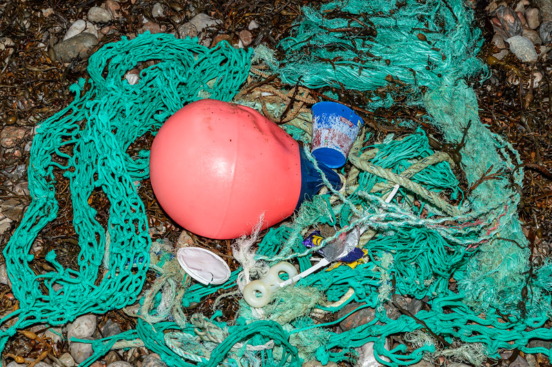 A thick length of Nylon rope was recovered from the Petit Port strand-line on 12 December 2018