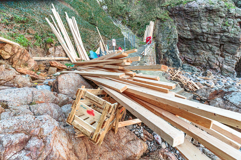 Planks of wood from a cargo spill from MV Koningsborg washed up at Petit Port on Guernsey's south coast