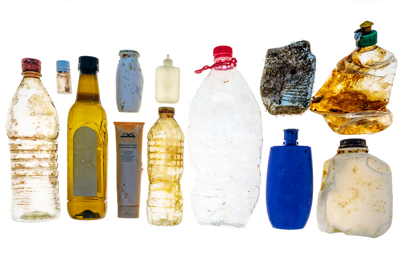 Plastic containers found on the sea shore at Petit Port on Guernsey's south coast on 25 January 2018