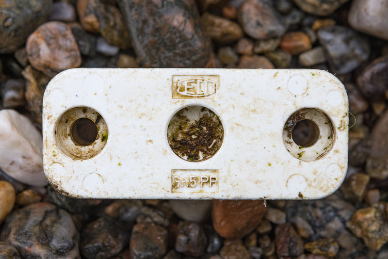 Plastic EO tube or pipe clamp section at Petit Port on Guernsey's south coast on the 28th January 2021