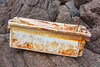 Fish box from Urk fish auction washed up in the rocky ravine to west of Petit Port on Guernsey's south coast on 11 January 2020