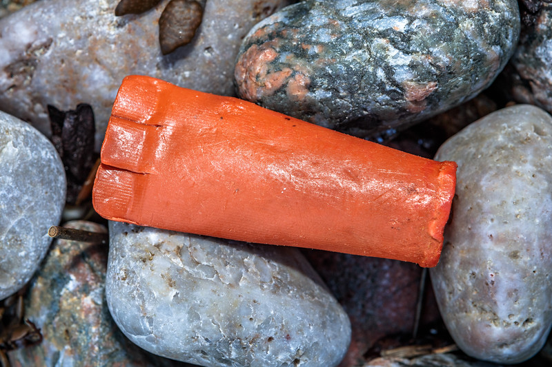 Plastic shotgun cartridge case washed up at Petit Port on Guernsey's south coast on 17th February 2020