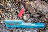 Plastic shotgun cartridge and hard plastic piece washed up at Petit Port on Guernsey's south coast on 11th February 2020