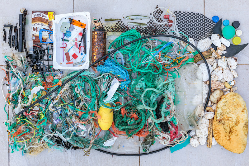 Marine debris and litter collected from Petit Port on Guernsey's south coast on 29th January 2020