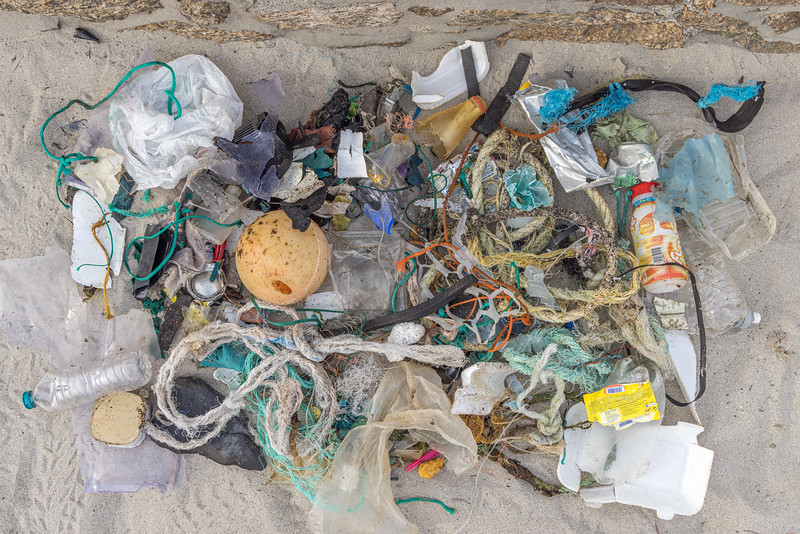 Sea shore litter collected from Perelle and the headland leading to Vazon Bay on the 25th September 2021