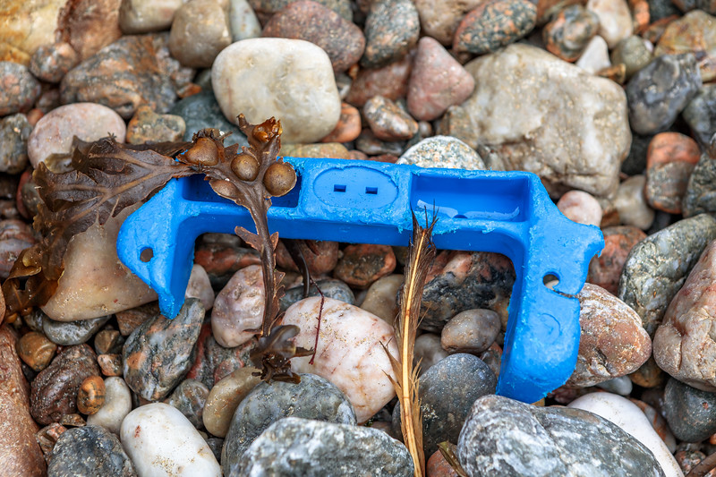 Hard blue plastic piece washed up at Petit Port on Guernsey's south coast on 4th October 2020