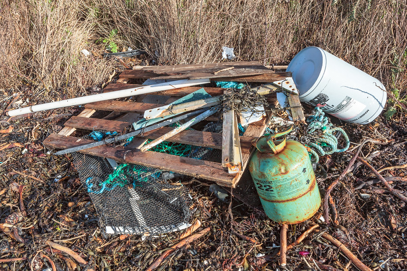Litter collected from the strand line at Champ Rouget, Chouet on Guernsey's north coast on 4th February 2014