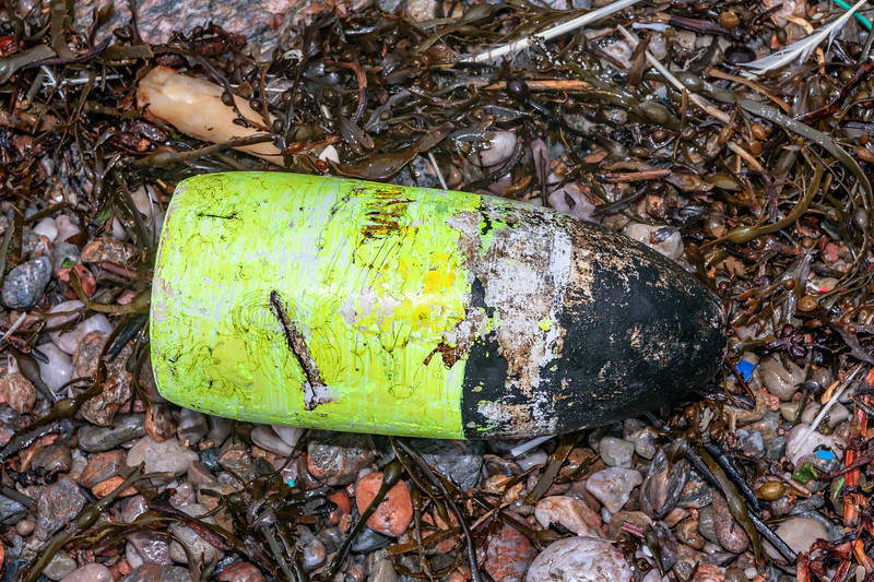 North American plastic fishing float washed up at Petit Port on Guernsey's south coast prior to 10th March 2020