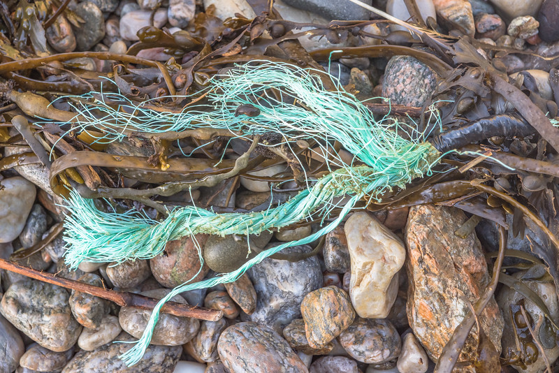 Frayed twisted rope washed up at Petit Port on Guernsey's south coast on 15th December 2020
