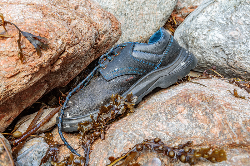 Safety shoe washed up at Petit Port on Guernsey's south coast on 28th November 2019