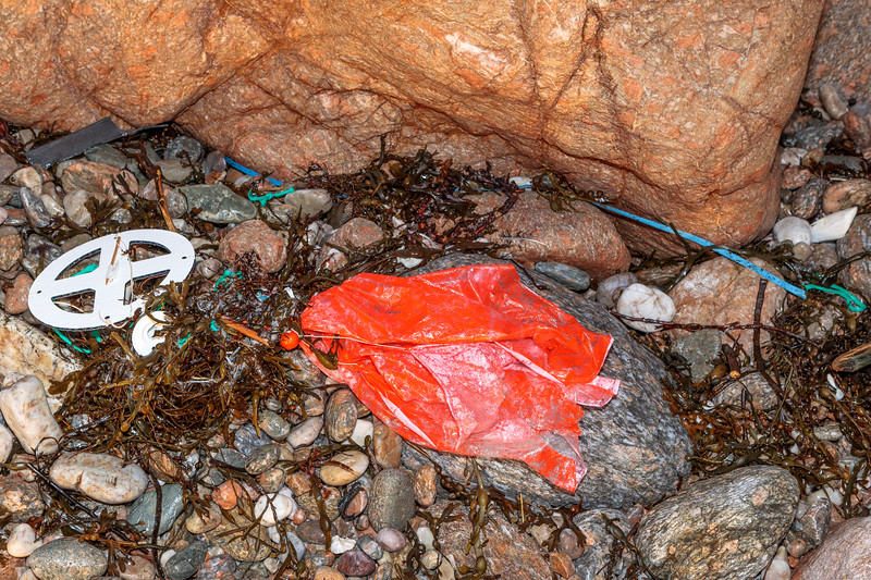 Parts of a weather balloon at Petit Port on Guernsey's south coast on 8th February 2019