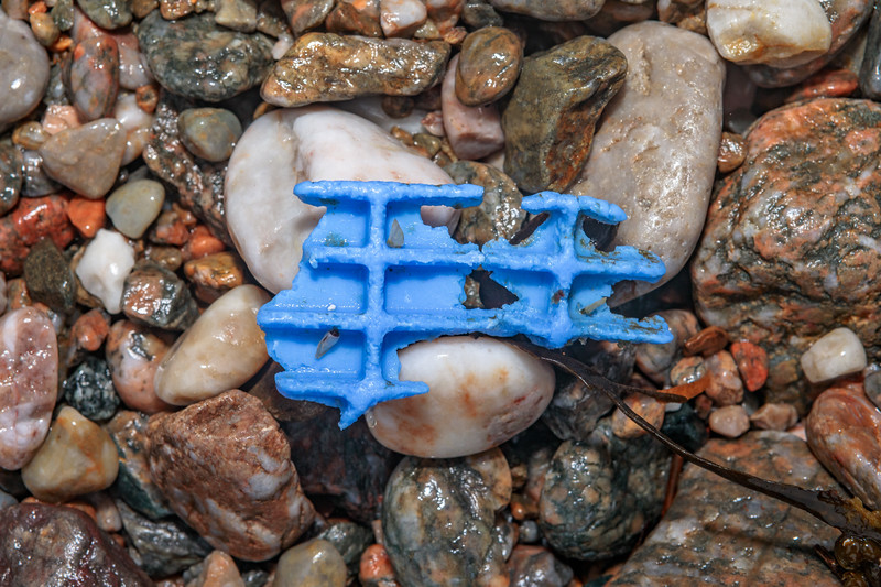Piece of hard blue plastic washed up at Petit Port on Guernsey's south coast on 10th March 2020