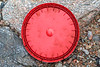 Large red plastic lid washed up at Petit Port on Guernsey's south coast on 6th February 2016