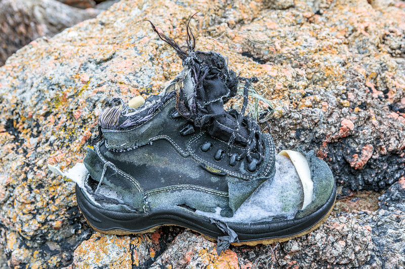 Safety shoe washed up at Petit Port on Guernsey's south coast on 6th September 2019