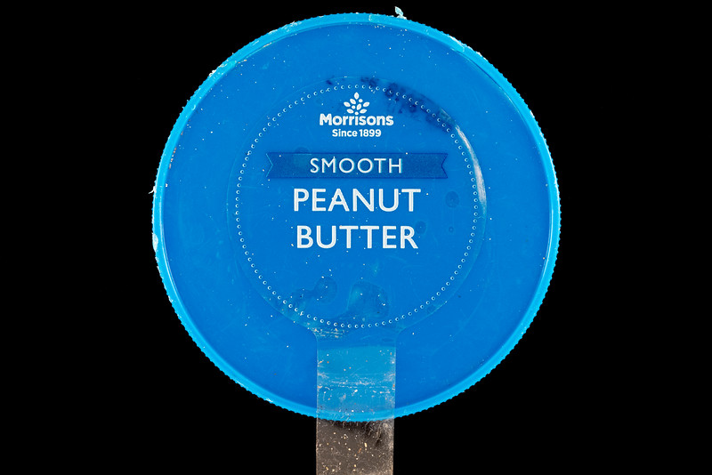 Morrisons smooth peanut butter plastic lid washed up at Petit Port on Guernsey's south coast