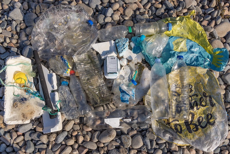 Collection of litter picked up on a walk around the Fort Le Marchant sea shore on the 24th September 2021