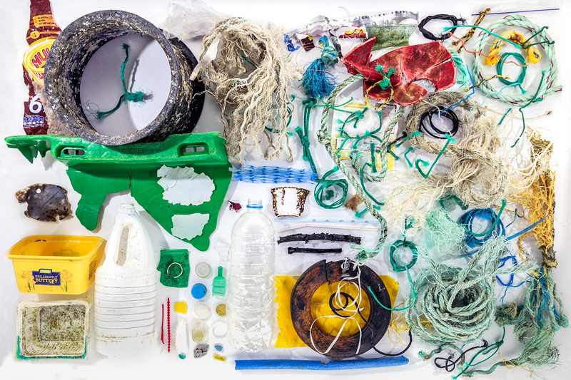 Marine litter collected at Petit Port on Guernsey's south coast by David Grimshaw and saved for photo shoot by Karl Taylor