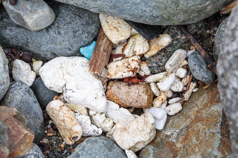 Polystyrene litter pieces on the sea shore at Pleinmont on Guernsey's south-west coast on 28th April 2018