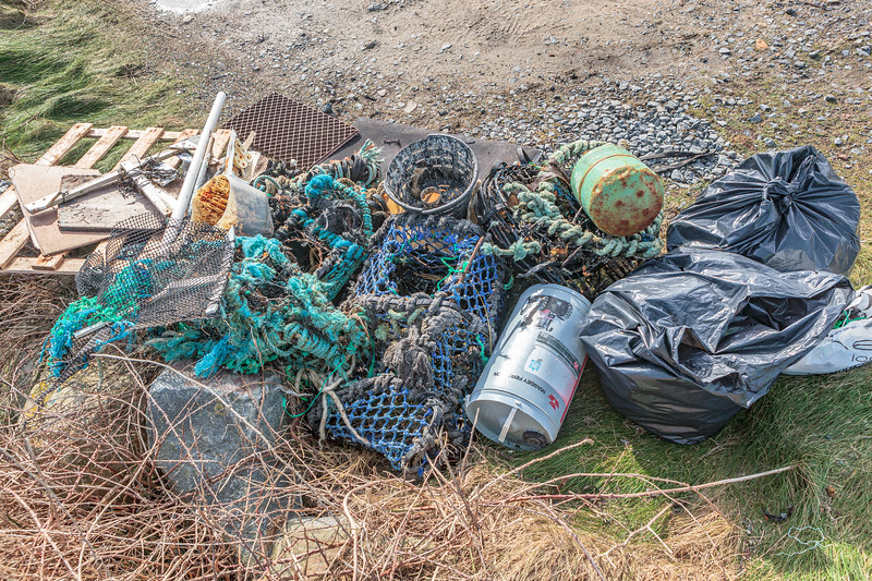 Sea shore litter collected at Champ Rouget, Chouet on Guernsey's north coast on 4th February 2014