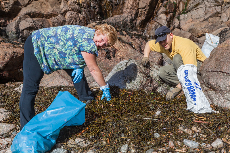 Sarah Griffiths MBE and Jockathon Pettitt picking up litter at Petit Port on Guernsey's south coast on 16th February 2014