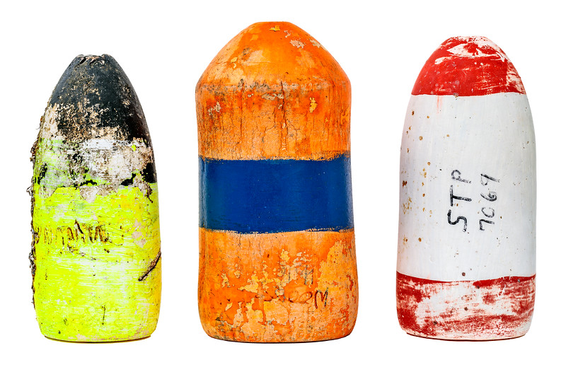North American fishing floats washed up on the Guernsey sea shore