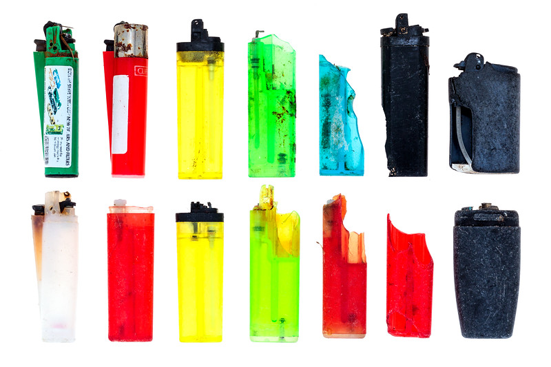 Plastic lighters collected from the Guernsey sea shore