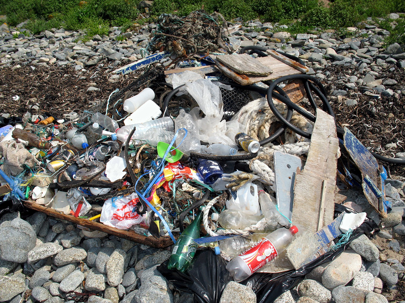 Beach litter collected at Champ Rouget, Guernsey on World Oceans Day 2007