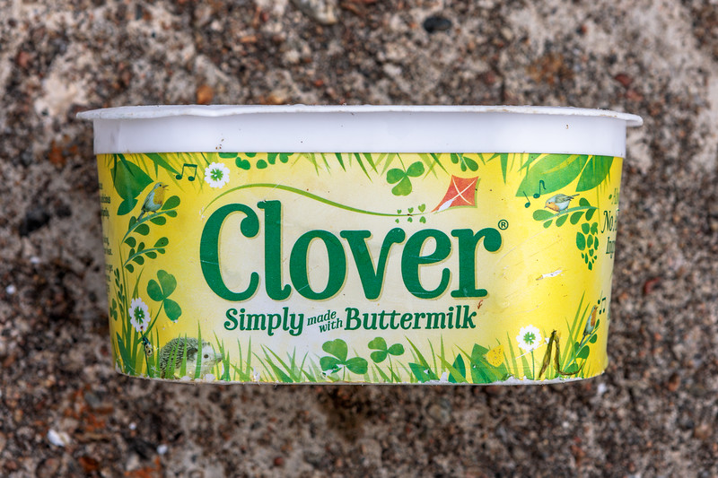 Clover spread container at Petit Port on Guernsey's south coast on 1st July 2020