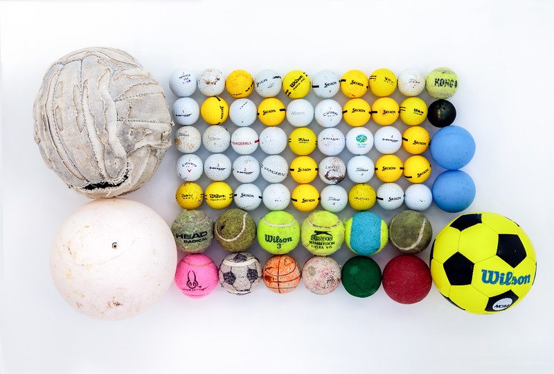 Some of the balls collected from the Guernsey sea shore so far in 2018