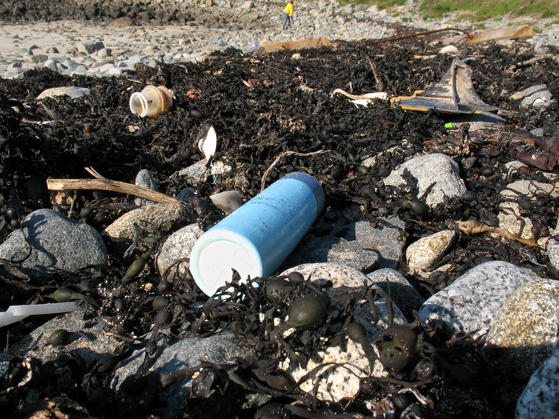 Plastic litter on the sea shore at Champ Rouget, Chouet on 17 February 2008