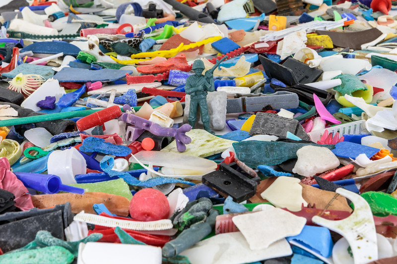 Some of the small pieces of marine plastic litter collected from the Guernsey sea shore during 2018