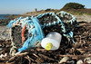 Broken crab pot on the sea shore at Champ Rouget, Guernsey