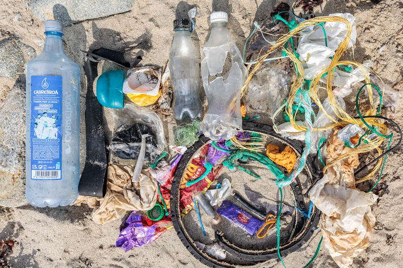Beach clean litter from Champ Rouget, Chouet collected on 29 August 2018
