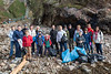 Take 3 Guernsey volunteer sea shore litter pickers with the litter collected from Petit Port