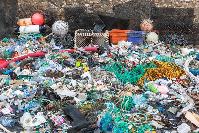 Some of the marine litter collected for the Karl Taylor Photography marine litter campaign photo shoot