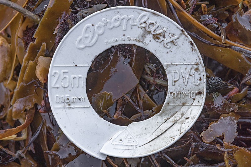 Coroplast electric insulation tape plastic reel at Pleinmont on Guernsey's south west coast on 26th February 2021