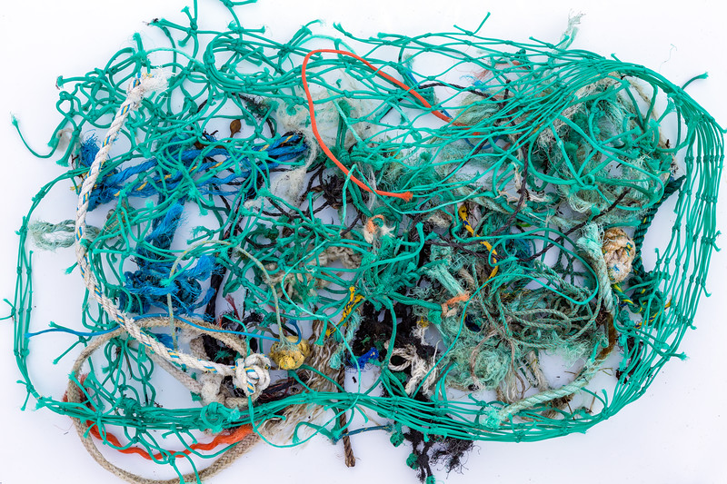 Commercial fishing Nylon netting and rope collected from the sea shore at Petit Port, Guernsey on 12 January 2016
