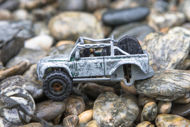 Toy Land Rover found wedged between a boulder and bedrock at Saints' Bay on Guernsey's south coast