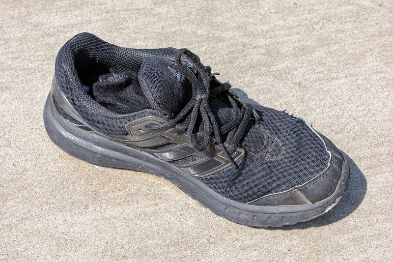 Single shoe on the beach at Petit Port on Guernsey's south coast on 7th May 2020