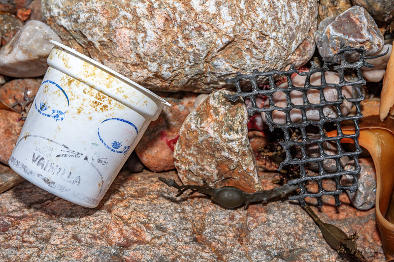 Plastic yoghurt container and hard plastic mesh washed up at Petit Port on Guernsey's south coast on 4th March 2020