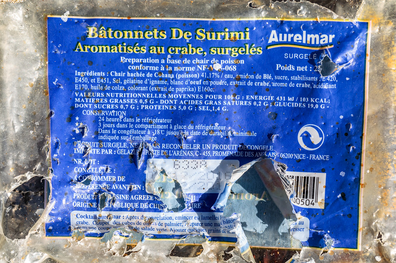 Plastic packaging for surimi washed up at Petit Port on Guernsey's south coast on 30th August 2019