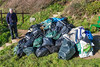 Bags of marine litter collected by volunteers from Petit Port on 19 January 2014