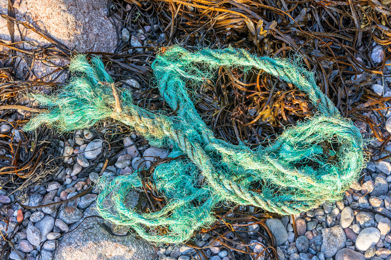 Fraying rope washed up at Petit Port on Guernsey's south coast on 6th October 2019