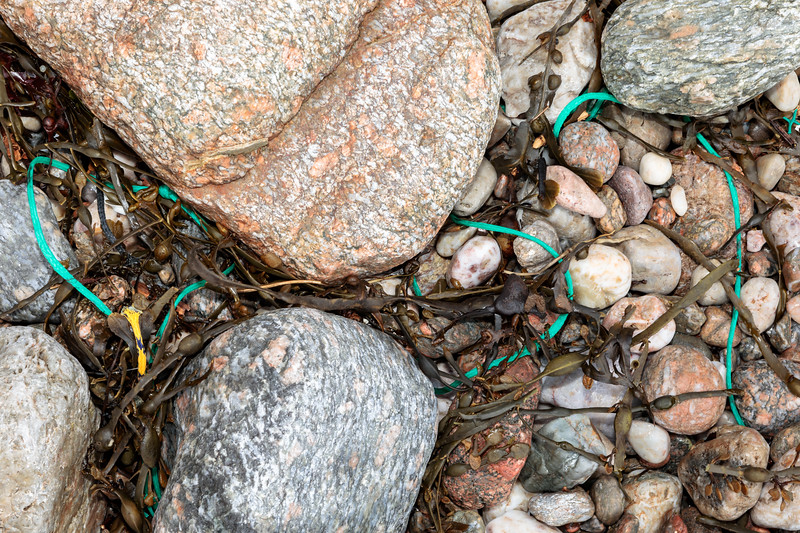 Short lengths of braided polypropylene twine at Petit Port on Guernsey's south coast on the 26th February 2020
