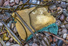 Plastic sponge from the seaweed strand line of Petit Port on Guernsey's south coast on the 26th May 2021