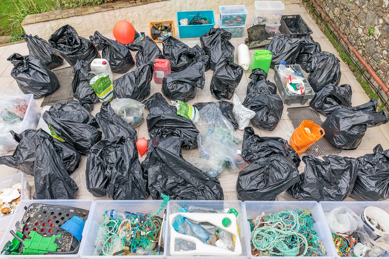 Marine litter mainly from Petit Port on Guernsey's south coast. to be washed and sorted