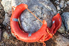 Broken Besto lifebuoy washed up at Petit Port on Guernsey's south coast on 11th February 2020