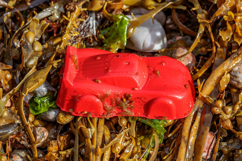 Red plastic toy sand mould washed up at Petit Port on Guernsey's south coast on 3rd July 2020