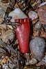 Plastic shotgun cartridge case on the Petit Port sea shore on Guernsey's south coast on 3rd January 2020